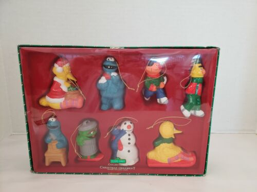 Set of 8 Ceramic Sesame Street Collectible Christmas Ornaments - New in Box