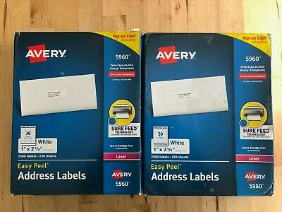 Avery 5960 Easy Peel Address Labels White 1 X 2-58- 13000 Labels
