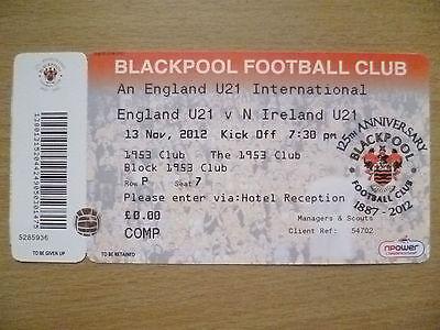 Ticket-England U21 International- ENGLAND U21 v N IRELAND U21,13 Nov 2012(Unused