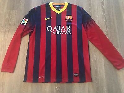 92242ec3a7 Nike Barcelona Home Long Sleeve Jersey 13 14 Size L