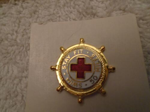 10 Vintage Red Cross Swim Stay Fit 50 Miles Lapel Pin Ship Wheel Lifesaver