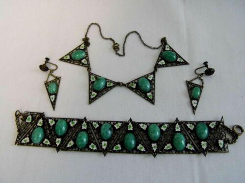 Vintage Deco Jade Peking Glass Enamel Necklace, Bracelet, Earrings, Max Neiger ?