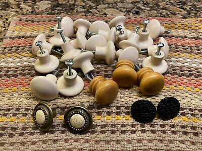 Lot of 31 Porcelain, Wood, Metal Cabinet Door Knobs Used