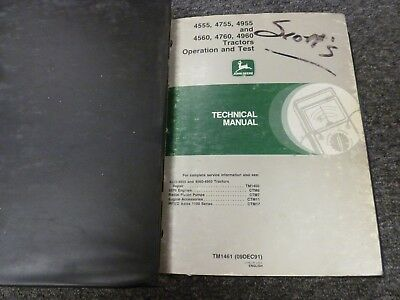 John Deere 4555 4755 4955 Tractor Operation Test Service Technical Manual Tm1461