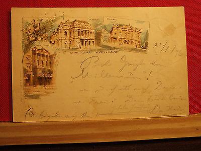 Rarität - Farblitho - Budapest - gel. 1896 - Theater - Sammlerstück !!