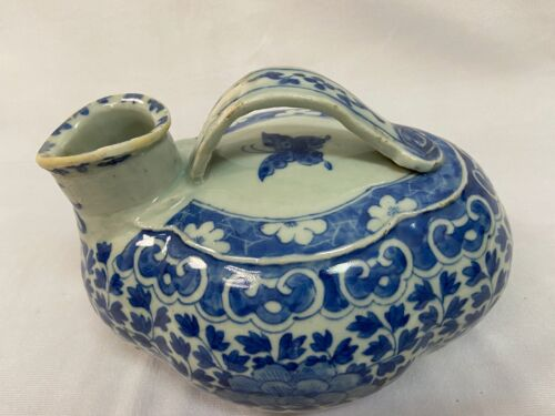 Chinese antique blue on white porcelain chamber pot. Length 7 inch H 5.5 inch