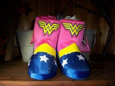 WONDER WOMAN TODDLER GIRLS SLIPPER BOOTS SIZE XL 11-12 PINK BLUE SHOES FUN - Wonder Woman Boots Size 11