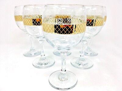 Crystal Glass Set of 6  Wine Champagne Glasses 8 oz Gold Plated Rimmed Design (Gold Champagne Glasses)