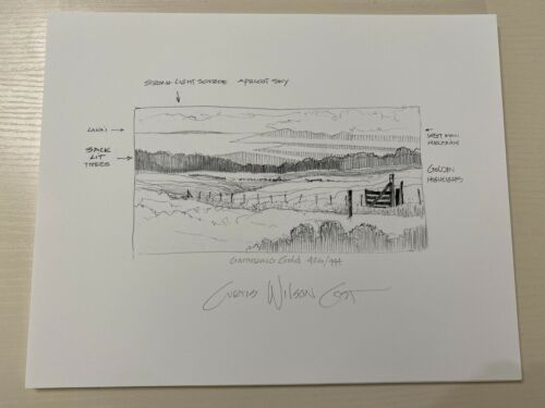 Curtis Wilson Cost Gathering Gold Sketch Purchased at the Gallery in Hawaii