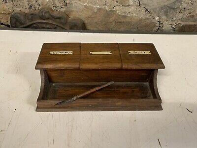 antique Oak writing Desk Set