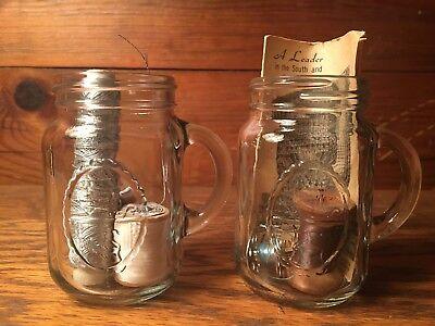 Set of 2 Vintage Miniature Mason Jars - Old Advertising
