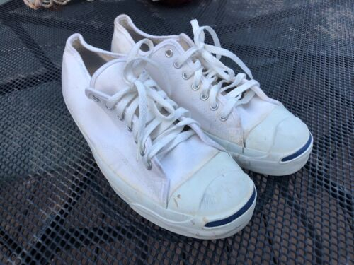 Vintage CONVERSE JACK PURCELL Canvas Sneakers White, Made in USA Sz 11 Mens
