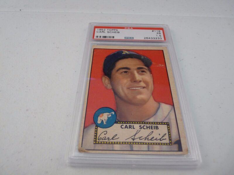 Carl Scheib 1952 Topps #116 Baseball Card PSA Graded Slabbed FR Fair 1.5