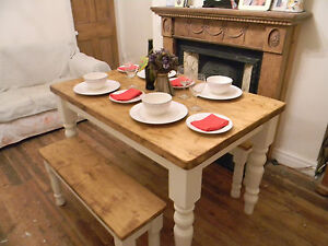 Shabby Chic farmhouse pine table and chairs / benches