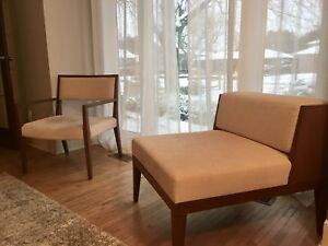 Midcentury modern style chaise lounge and 2 occasional chairs