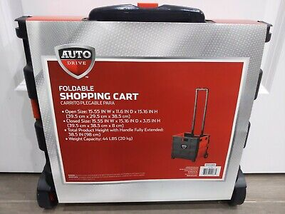 Portable Folding Dolly Collapsible Trolley Shopping Cart Basket 2 Wheel Handcart
