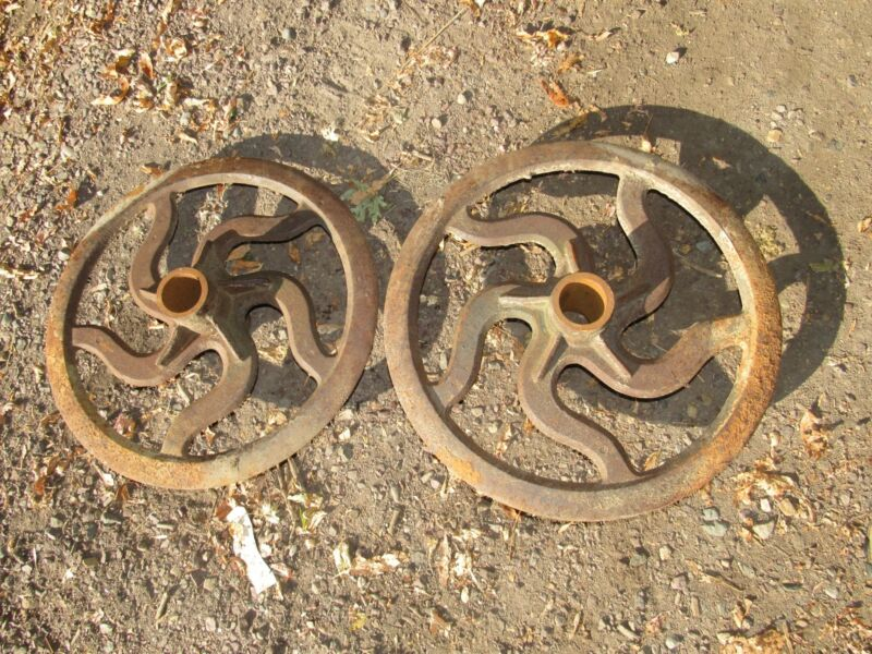 """LARGE Antique Cast Iron Industrial Factory Gear Farm Wheel Pulley 19"""""""