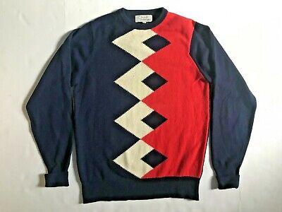 BALLANTYNE HARRODS Mens 100% Scottish Cashmere Argyle Sweater Sz 42 L Scotland