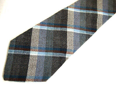 "Sears Mens Necktie Tie Purple Grey Beige Plaid 58"""