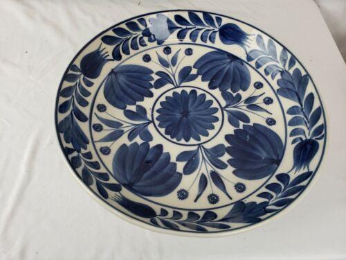 "Massive Heavy 18"" wide Delft? blue and white glazed ceramics dish, vintage"