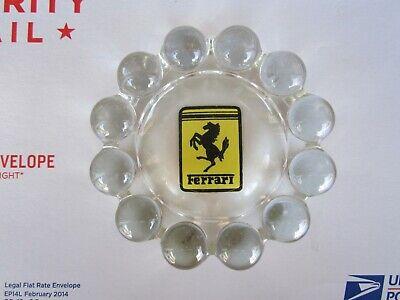 "Vintage Ferrari Heavy Clear Glass 5 1/2"" Ashtray Dish Very Clean"