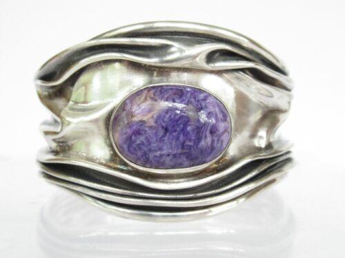 Modernist Folded Sterling Silver Charoite Cuff Bracelet DDD Dominique Domingo