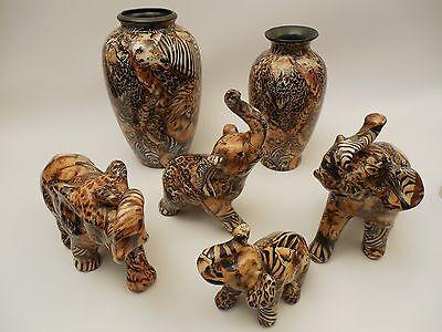LOT OF 6 La Vie Patchwork Safari Animal Print Elephant Figurines wMatching Vases