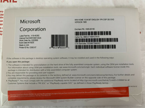 Microsoft Windows 10 Home 64 Bit  Dvd w/ Product Key Full Oem Version