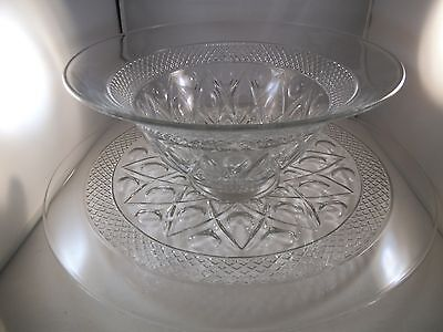 Vintage Imperial Glass Cape Cod Punch Bowl Underplate & 12 Cups Clear