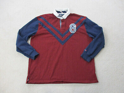 VINTAGE Tommy Hilfiger Polo Shirt Adult 2XL XXL Red Blue Long Sleeve Rugby Men *