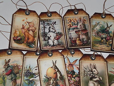 12 Primitive Vintage Easter Bunny Rabbit Hang Tags Gift Ties Ornies Party Favors