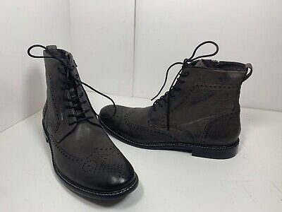 John Varvatos USA 11.5M brown wingtip boot leather Zip Up & Laced casual New WOB ()