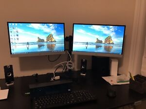 "HP 23"" monitors (2) , dual arm mount included"