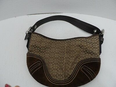 Coach  Khaki Brown Small Fabric/Leather and Suede Baguette Bag Handbag Purse