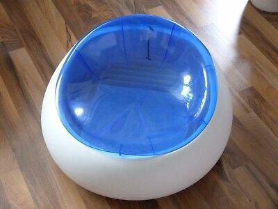 Acryl Sitz blau weiß transparent Retro 70s Ikea Staufach