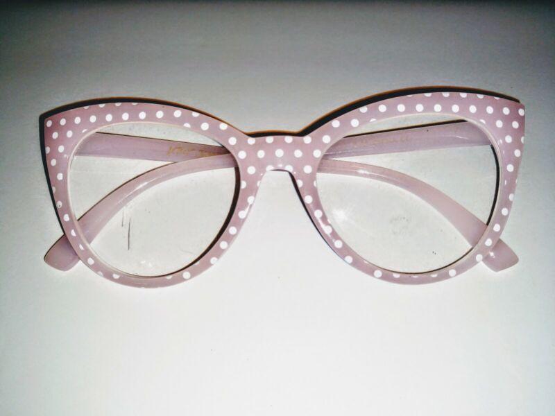 Betsey Johnson Pink White Polka Dot  Eyeglass Frames