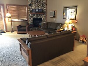 2 identical couches/sofas (both are hide-a-bed) + armchair