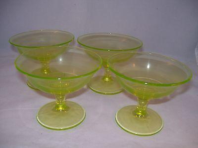 Vintage Vaseline Green Pressed Glass Set of 4 Sherbet Dessert Footed Cups