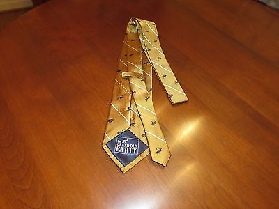 The Grand Old Party Republican Men's Neck Tie 100% Silk Gold Woven Elephant NEW