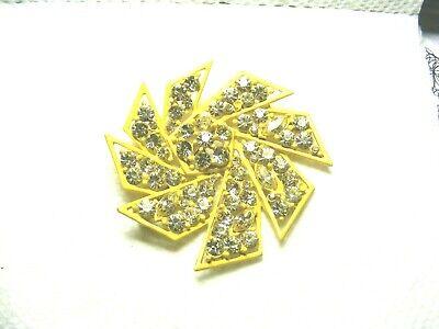 Vtg. Yellow Rhinestone Pinwheel