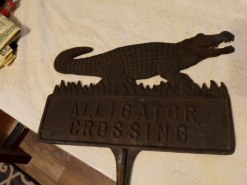 Old Vintage Heavy Double Sided Alligator Crossing Sign 2.5 Pounds