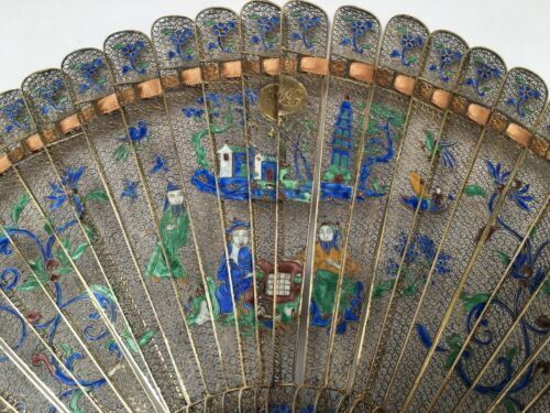 ANTIQUE Chinese for Export  GILDED SILVER FILIGREE & ENAMEL BRISE FAN. RARE!