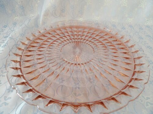 Jeannette Glass Pink Windsor Diamond Cake/Torte Plate