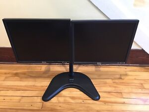 Dual monitor stand with monitors