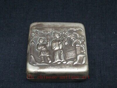 Antique Collection Chinese Tibet Silver Hand-made Figure Statue Ink Box Snuffbox