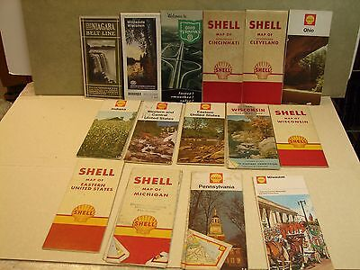 Lot of 15 Vintage Road Map,