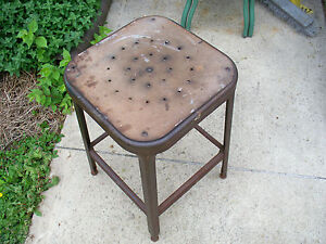 Vintage Industrial Lyon Metal Workshop Drafting Machine Age Stool Bench Chair