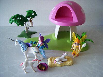 PLAYMOBIL 6055 FAIRY TOADSTOOL HOUSE + fairies + unicorns + magic apple tree +