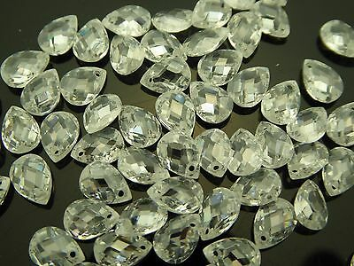 Cubic Zirconia Clear Faceted Pear Briolette Top Front Drilled Teardrop 10 (Faceted Top Drill)