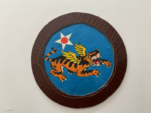 pk675 Original WW2 US Army Air Force 14th Flying Tigers Painted Leather  WC10